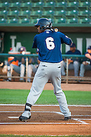 Jose Cuas (6) of the Helena Brewers at bat against the Ogden Raptors in Pioneer League action at Lindquist Field on August 19, 2015 in Ogden, Utah. Ogden defeated Helena 4-2.  (Stephen Smith/Four Seam Images)