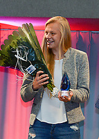 20180603 – OOSTENDE , BELGIUM : Ella Van Kerkhoven , winner of the trophee Top Goalscorer in the Super League  pictured during the 4th edition of the Sparkle award ceremony , Sunday 3 June 2018 , in Oostende . The Sparkle  is an award for the best female soccer player during the season 2017-2018 comparable to the Golden Shoe or Boot / Gouden Schoen / Soulier D'or for Men in Belgium . PHOTO SPORTPIX.BE / DIRK VUYLSTEKE