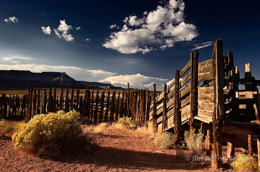 An old loading chute and corral near Virgin, Utah at first light.