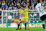 Carlos Arturo Bacca Ahumada of Villarreal CF (R) fights for the ball with Gabriel Armando De Abreu of Valencia CF (L) during the La Liga 2017-18 match between Valencia CF and Villarreal CF at Estadio de Mestalla on 23 December 2017 in Valencia, Spain. Photo by Maria Jose Segovia Carmona / Power Sport Images