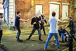 © Joel Goodman - 07973 332324 . 11/09/2016 . Manchester , UK . A fight on Well Street . Revellers out in Manchester City Centre . Photo credit : Joel Goodman