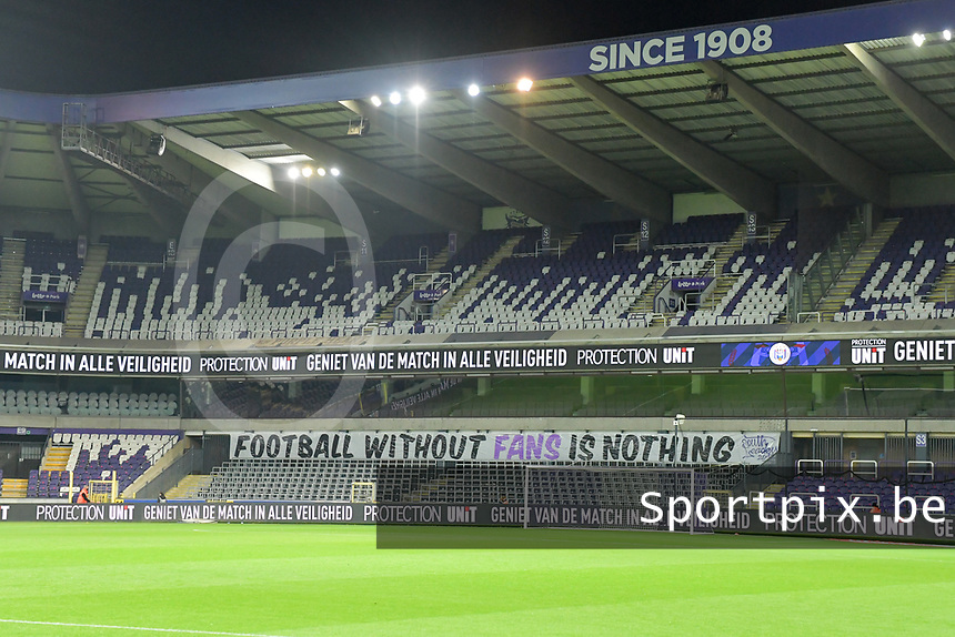 Football without fans is nothing - Enjoy the game in all safety pictured before a female soccer game between RSC Anderlecht Dames and Northern Irish Linfield Ladies  in the first qualifying round for the Uefa Womens Champions League of the 2020 - 2021 season , Wednesday 4 th of November 2020  in ANDERLECHT , Belgium . PHOTO SPORTPIX.BE | SPP | STIJN AUDOOREN