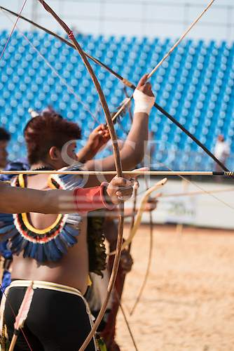 Archers practice at the International Indigenous Games, in the city of Palmas, Tocantins State, Brazil. Photo © Sue Cunningham, pictures@scphotographic.com 28th October 2015