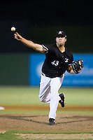Kannapolis Intimidators relief pitcher Taylore Cherry (43) in action against the Lexington Legends at Kannapolis Intimidators Stadium on July 14, 2016 in Kannapolis, North Carolina.  The Kannapolis Intimidators defeated the Lexington Legends 4-2.  (Brian Westerholt/Four Seam Images)