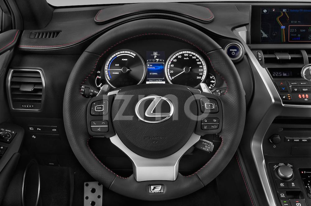 Car pictures of steering wheel view of a 2015 Lexus NX 300h F Sport 4WD 5 Door SUV 4WD Steering Wheel