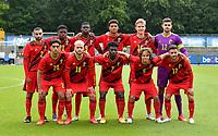 Belgian team pose for a team photo with Yunus Bahadir (2) , Bryan Limbombe (21) , Mitchy Ntelo (9) , Koni De Winter (4) , Ibe Hautekiet (16), Nick Shinton (12) , Amine Essabri (20) , Nicolas Raskin (18) , Samuel Asoma (7) , Loic Masscho (5) and Elias Sierra (17) during a friendly soccer game between the national teams Under19 Youth teams of Belgium and Germany on tuesday 8 th of September 2020  in Genk , Belgium . PHOTO SPORTPIX.BE | SPP | DAVID CATRY