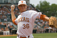 Pitcher Nathan Thornhill #36 of the Texas Longhorns warms up against the Oklahoma Sooners in NCAA Big XII baseball on May 1, 2011 at Disch Falk Field in Austin, Texas. (Photo by Andrew Woolley / Four Seam Images)