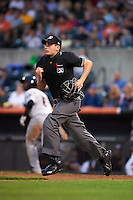 Umpire Anthony Perez during a game between the Tri-City ValleyCats and Aberdeen Ironbirds on August 6, 2015 at Ripken Stadium in Aberdeen, Maryland.  Tri-City defeated Aberdeen 5-0 as combined to throw a no-hitter.  (Mike Janes/Four Seam Images)