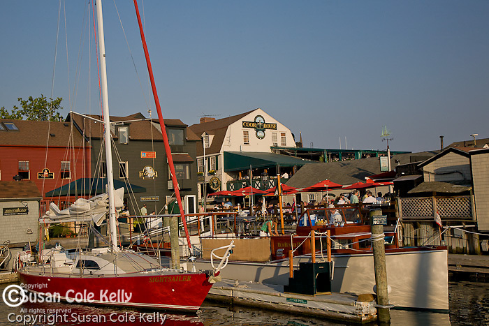 Shopping and dining on Bannister Wharf, Newport, Narragansett Bay, RI