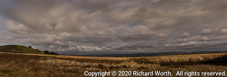 Clouds provide texture, contrast and depth to the skies over the winter-brown wetland in a panorimic image of Coyote Hills Regional Park in Fremond, Californi, on a winter afternoon.