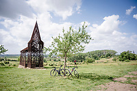Instagram-friendly 'Reading between the lines' (or more commonly known as the 'see-through chapel') arts installation atop the Bollenberg<br /> <br /> Limburg cycling hotspots<br /> Cycling In Flanders <br /> Flanders Tourist Board<br /> <br /> ©kramon