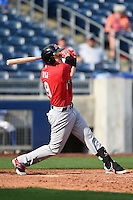 Frisco Rough Riders third baseman Ryan Rua (9) hits a home run during the first game of a doubleheader against the Tulsa Drillers on May 29, 2014 at ONEOK Field in Tulsa, Oklahoma.  Frisco defeated Tulsa 13-4.  (Mike Janes/Four Seam Images)