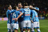 Piotr Zielinski of Napoli celebrates with team mates after scoring the goal of 0-1 <br /> Parma 24-02-2019 Ennio Tardini <br /> Football Serie A 2018/2019 Parma - Napoli <br /> Foto Image Sport / Insidefoto