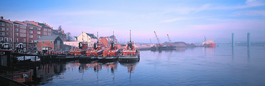 A misty morning on the Portsmouth, New Hampshire, waterfront. Photograph by Peter E. Randall.