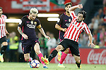 Athletic de Bilbao's Benat Etxebarria (r) and FC Barcelona's Leo Messi during La Liga match. August 28,2016. (ALTERPHOTOS/Acero)