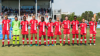 Bradenton, FL - Friday, June 08, 2018: Canada Starting XI during a U-17 Women's Championship match between the United States and Canada at IMG Academy.  USA defeated Canada 1-0 to take top spot in their group and advance to the semifinals.