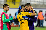 Goalkeeper Mathew Ryan of Australia (R) and Aziz Behich of Australia (C) celebrates following their sides win after a penalty shoot-out in the AFC Asian Cup UAE 2019 Round of 16 match between Australia (AUS) and Uzbekistan (UZB) at Khalifa Bin Zayed Stadium on 21 January 2019 in Al Ain, United Arab Emirates. Photo by Marcio Rodrigo Machado / Power Sport Images