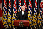 Premier Gordon Campbell announces his 10-point economic plan for the province of British Columbia via live television broadcast. Photo assignment for the Globe and Mail national newspaper in Canada.