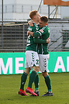 22.11.2020, Dietmar-Scholze-Stadion an der Lohmuehle, Luebeck, GER, 3. Liga, VfB Luebeck vs FC Bayern Muenchen II <br /> <br /> im Bild / picture shows <br /> Torjubel/Jubel. Torschütze/Torschuetze Pascal Steinwender (VfB Luebeck)  jubelt ueber das Tor zum 2:0, rechts Thorben Deters (VfB Luebeck)  <br /> <br /> DFB REGULATIONS PROHIBIT ANY USE OF PHOTOGRAPHS AS IMAGE SEQUENCES AND/OR QUASI-VIDEO.<br /> <br /> Foto © nordphoto / Tauchnitz