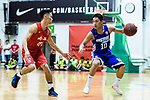 Yang Ricky #10 of Eastern Long Lions (R) in action against Tsai Choi Kwan #27 of SCAA Men's Basketball Team (L) during the Final of Hong Kong Basketball League 2018 match between SCAA v Eastern Long Lions on August 10, 2018 in Hong Kong, Hong Kong. Photo by Marcio Rodrigo Machado/Power Sport Images