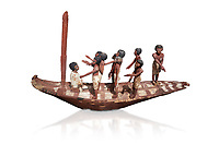 Ancient Egyptian model of a boat with mast, Middle Kingdom (1980-1700 BC. Egyptian Museum, Turin. white background.<br /> <br /> Wooden tomb models were an Egyptian funerary custom throughout the Middle Kingdom in which wooden figurines and sets were constructed to be placed in the tombs of Egyptian royalty.
