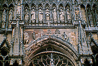 Detail of intricate sculpture on Reims Cathedral. Reims, France