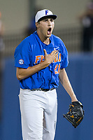 Florida Gators pitcher Alex Faedo (21) reacts after getting the final out of the 8th inning against the Wake Forest Demon Deacons in Game Three of the Gainesville Super Regional of the 2017 College World Series at Alfred McKethan Stadium at Perry Field on June 12, 2017 in Gainesville, Florida.  The Gators defeated the Demon Deacons 3-0 to advance to the College World Series in Omaha, Nebraska.   (Brian Westerholt/Four Seam Images)
