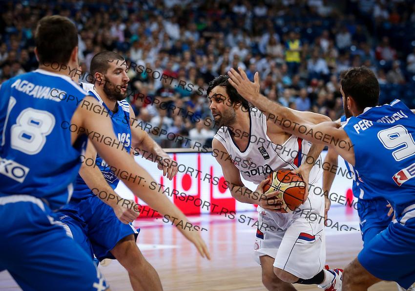 Kosarka-Basketball<br /> Srbija v Grcka-Prijateljski Mec<br /> Milos Teodosic (C) Stratos Perperoglou (R)<br /> Beograd, 28.06.2016.<br /> foto: Srdjan Stevanovic/Starsportphoto ©