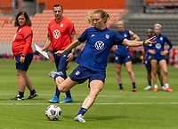 HOUSTON, TX - JUNE 9: Samantha Mewis #3 of the USWNT takes a shot during a training session at BBVA Stadium on June 9, 2021 in Houston, Texas.