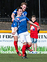 Cowdenbeath's Calum Gallagher (11) is congratulated by Chris Kane (rear) after he scores their third goal.