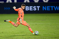 CARSON, CA - OCTOBER 18: Jonathan Klinsmann #33 GK of Los Angeles Galaxy sends a ball downfield during a game between Vancouver Whitecaps and Los Angeles Galaxy at Dignity Heath Sports Park on October 18, 2020 in Carson, California.