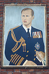 Protestant portrait of the Duke of Edinburgh Belfast mural 1970s Northern Ireland Uk. This is paired with the portrait of the Queen