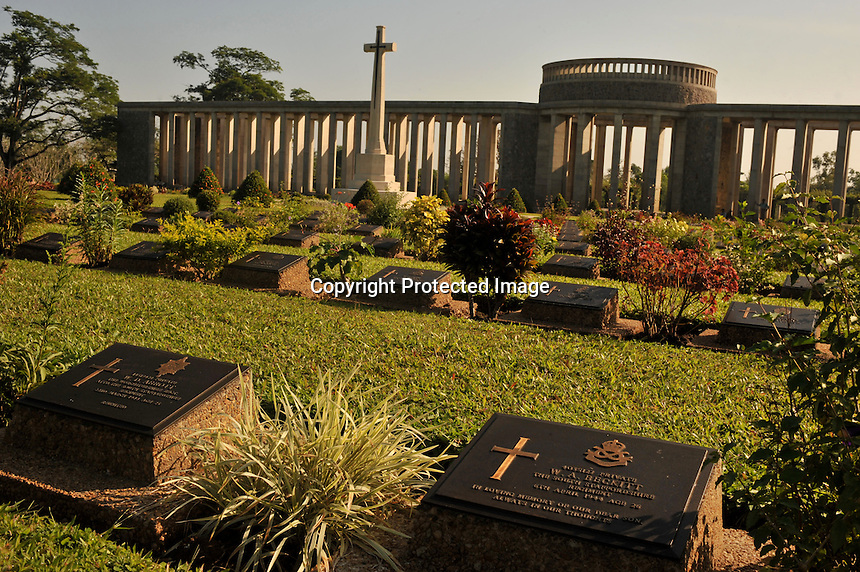 The Taukkyan War Cemetery that houses the graves of 6374 allied soldiers who died during the Burma and assam campaigns of WW11, north of  Rangoon, Burma, November 2008. The is also a monumnt to 27,000 soldiers who have no known grave. The site is maintained by the Commonwealth War Graves Commission.<br /> <br /> Photo by Richard Jones