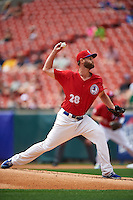 Buffalo Bisons starting pitcher Chris Leroux (28) during a game against the Syracuse Chiefs on July 31, 2016 at Coca-Cola Field in Buffalo, New York.  Buffalo defeated Syracuse 6-5.  (Mike Janes/Four Seam Images)