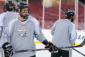 Kyle McKenzie (PC - 5) -  - The participating teams in Hockey East's first doubleheader during Frozen Fenway practiced on January 3, 2014 at Fenway Park in Boston, Massachusetts.