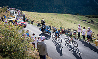 Adam Yates (GBR/Mitchelton-Scott) & Enric Mas (ESP/Movistar) up the Puy Mary (uphill finish)<br /> <br /> Stage 13 from Châtel-Guyon to Pas de Peyrol (Le Puy Mary) (192km)<br /> <br /> 107th Tour de France 2020 (2.UWT)<br /> (the 'postponed edition' held in september)<br /> <br /> ©kramon