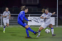 forward Gwen Duijsters (13) of KRC Genk and Jody Vangheluwe (22) of Club Brugge pictured during a female soccer game between  Racing Genk Ladies and Club Brugge YLA on the 10 th matchday of the 2020 - 2021 season of Belgian Scooore Womens Super League , friday 18 th of December 2020  in Genk , Belgium . PHOTO SPORTPIX.BE | SPP | STIJN AUDOOREN