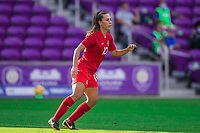 ORLANDO, FL - FEBRUARY 24: Sarah Stratigakas #10 of the CANWNT dribbles the ball during a game between Brazil and Canada at Exploria Stadium on February 24, 2021 in Orlando, Florida.