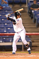 Binghamton Mets shortstop Wilfredo Tovar (2) at bat during a game against the Bowie Baysox on August 3, 2014 at NYSEG Stadium in Binghamton, New York.  Bowie defeated Binghamton 8-2.  (Mike Janes/Four Seam Images)