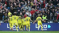 Brentford celebrate scoring their second goal during West Ham United vs Brentford, Premier League Football at The London Stadium on 3rd October 2021