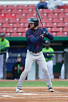 Cedar Rapids Kernels designated hitter Gabe Snyder (24) during a Midwest League game against the Kane County Cougars at Northwestern Medicine Field on April 28, 2019 in Geneva, Illinois. Cedar Rapids defeated Kane County 3-2 in game two of a doubleheader. (Zachary Lucy/Four Seam Images)