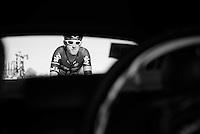 Geraint Thomas (GBR/SKY) returning to the peloton through the after a nature-break.<br /> <br /> stage 21: Alcala de Henares - Madrid (98km)<br /> 2015 Vuelta à Espana