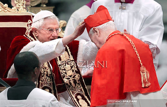 German cardinal Karl Josef Becker   , Pope Benedict XVI leads the Consistory where he will appoint 22 new cardinals on February 18, 2012 at St Peter's basilica at the Vatican.