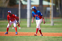 Rhaybel Roso (5) leads off second base during the Dominican Prospect League Elite Florida Event at Pompano Beach Baseball Park on October 14, 2019 in Pompano beach, Florida.  (Mike Janes/Four Seam Images)