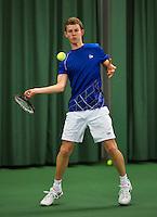 Rotterdam, The Netherlands, 07.03.2014. NOJK ,National Indoor Juniors Championships of 2014,  Michiel de Krom (NED)  <br /> Photo:Tennisimages/Henk Koster