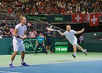 Switserland, Genève, September 19, 2015, Tennis,   Davis Cup, Switserland-Netherlands, Doubles: Dutch team Matwe Middelkoop/Thiemo de Bakker (L)<br /> Photo: Tennisimages/Henk Koster