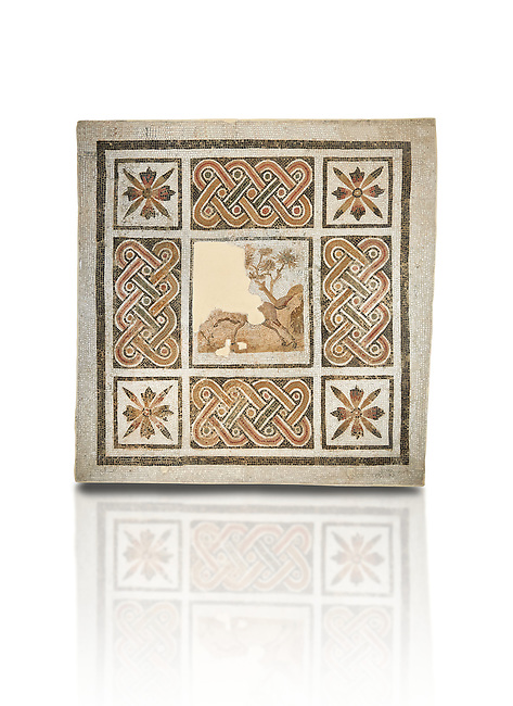 Pictures of a geometric Roman mosaics with strap work and cruciform flowers and in the centre a damaged depiction of a running deer, from the ancient Roman city of Thysdrus, Jilani Guirat area. 3rd century AD. El Djem Archaeological Museum, El Djem, Tunisia. Against a white background