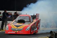Nov. 8, 2012; Pomona, CA, USA: NHRA funny car driver Jim Head during qualifying for the Auto Club Finals at at Auto Club Raceway at Pomona. Mandatory Credit: Mark J. Rebilas-
