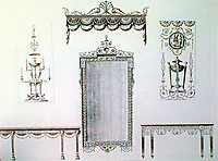 Examples of ornate mirrors and tables from Robert Adam's seminal work on British architecture.