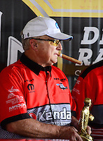 Oct. 8, 2012; Mohnton, PA, USA: NHRA pro stock driver V. Gaines celebrates after winning the Auto Plus Nationals at Maple Grove Raceway. Mandatory Credit: Mark J. Rebilas-